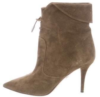 Aquazzura Suede Lace-Up Ankle Boots