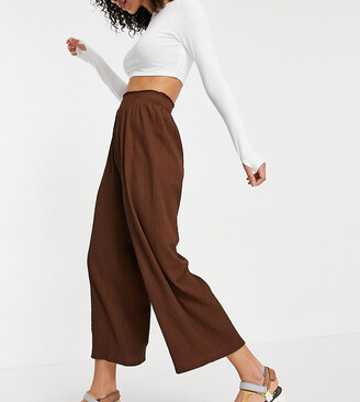 Asos Tall ASOS DESIGN Tall textured shirred waist culotte pants in brown