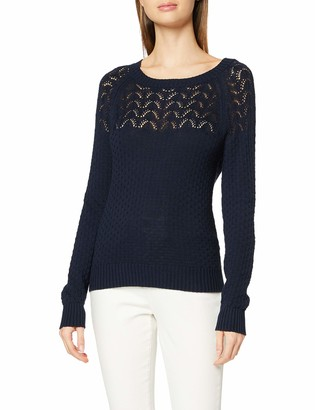 Dorothy Perkins Women's Navy Textured Yoke Detail Jumper Pullover Sweater 20