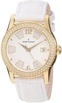 Swarovski Claude Bernard Women's 61163 37JP BD Ladies Fashion Gold PVD Leather Watch