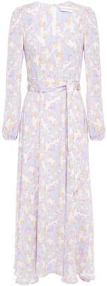 Rebecca Vallance Belted Floral-print Stretch-crepe Midi Dress