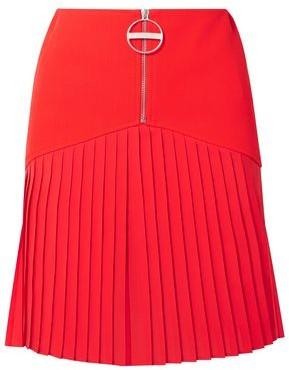 Givenchy Pleated Chiffon-paneled Wool Mini Dress
