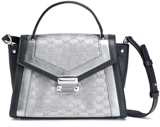 MICHAEL Michael Kors Metallic Jacquard-paneled Leather Shoulder Bag