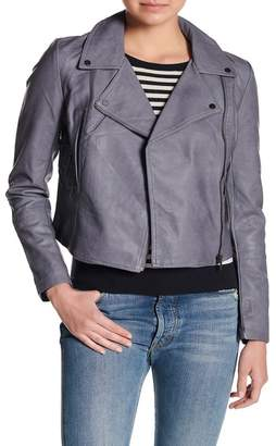 Coffee Shop Lace-Up Faux Leather Moto Jacket