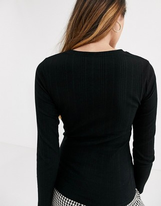 New Look ribbed crew neck in black