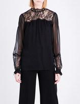 Oscar de la Renta Lace-insert silk-blend blouse