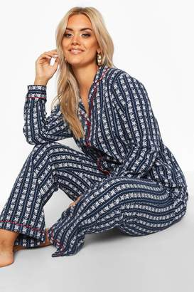 boohoo Plus Fairisle Print Brushed PJ Set