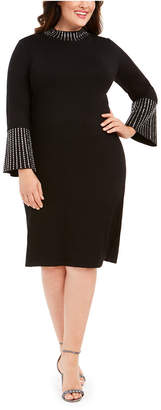 Calvin Klein Plus Size Bling Mock-Neck Dress