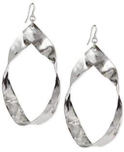 Devon Leigh Twisted Rhodium-Plated Hoop Earrings