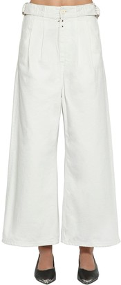 MM6 MAISON MARGIELA BELTED WIDE LEG COTTON DENIM JEANS