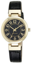 Nine West Goldtone Black Leather Strap Watch, NW-1908BKBK