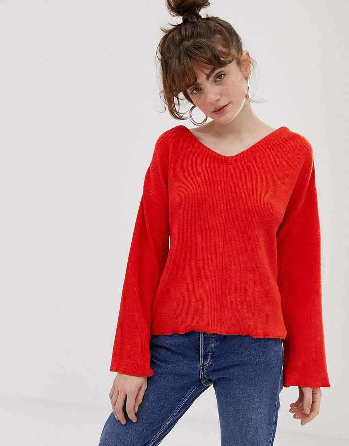 reversible sweater in red