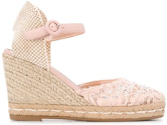 Le Silla Crystal-Embellished Wedge Sandals