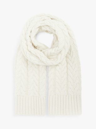 John Lewis & Partners Chunky Cable Scarf, Cream