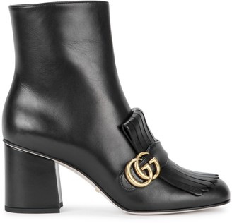 Gucci GG Marmont 75 black leather ankle boots
