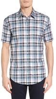 BOSS Men's Ronn Trim Fit Check Short Sleeve Sport Shirt