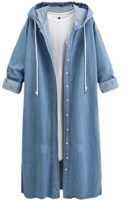 Zilcremo Women Hooded Denim Trenchcoat Long Sleeve Breasted Maxi Jackets Lightblue 3XL
