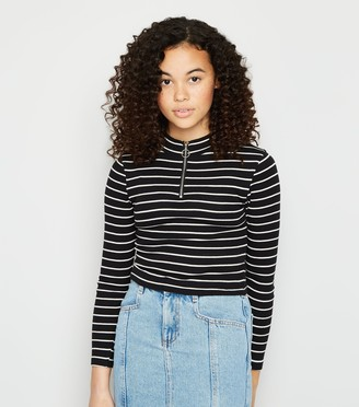 New Look Girls Stripe Zip High Neck T-Shirt