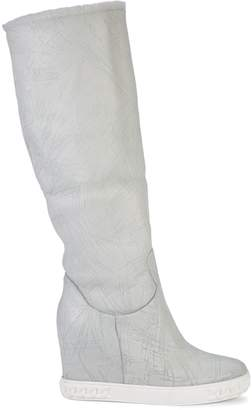 Casadei Faux Fur-Lined Mid-Calf Leather Boots