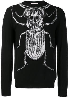 Alexander McQueen beetle and skull knitted sweater