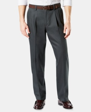 Dockers Signature Lux Cotton Relaxed Fit Pleated Creased Stretch Khaki Pants