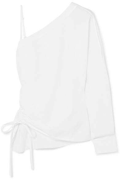 Alexander Wang One-shoulder Cotton-poplin Top - White