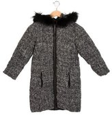 Lili Gaufrette Girls' Fur-Trimmed Bouclé Coat