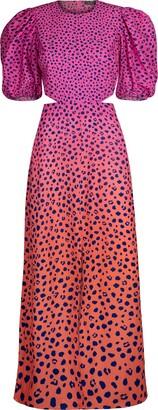 AFRM Liza Puff Sleeve Cutout Midi Dress
