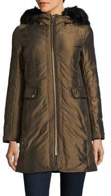 Cole Haan Faux Fur-Trimmed Trapunto Stitched Anorak