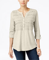 Style&Co. Style & Co. Petite Crochet-Front Top, Only at Macy's