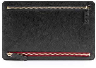 Smythson Panama Leather Currency Case - Mens - Black