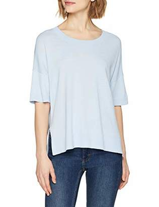 Selected Women's Slfwille Ss Knit O-Neck Noos T-Shirt, Blue Skyway, 8 (Size: X-Small)