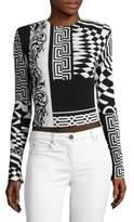 Versace Silk Shoulder Print Bodysuit