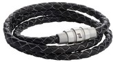 Porsche Design Men's Grooves Leather Wrap Bracelet