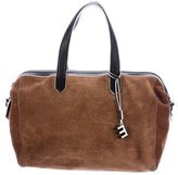 Elizabeth and James Leather-Trimmed Suede Satchel