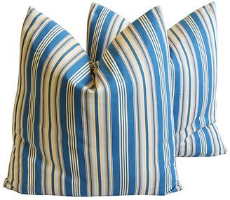 One Kings Lane Vintage Blue & Cream Ticking Stripe Pillows - Pr