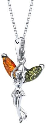 Oravo Genuine Baltic Amber Fairy Design Pendant Necklace in Sterling Silver