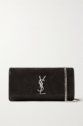 Saint Laurent Kate Glittered Suede Shoulder Bag - Black
