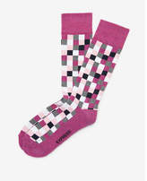 Express cushioned check dress socks