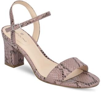 Bandolino Aria Embossed Snake Print Block Heel Sandal