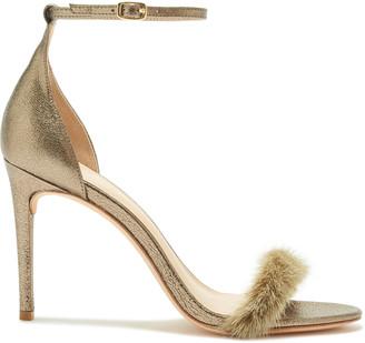 Rachel Zoe Everly Mink-Trimmed Heeled Sandals