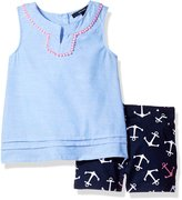 Nautica Big Girls' Anchor Printtop with Short Set