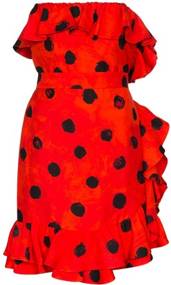 Moschino Polka Dot Ruffle Mini Dress