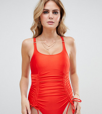 Wolfwhistle Wolf & Whistle Fuller Bust Exclusive strung and gathered swimsuit in red