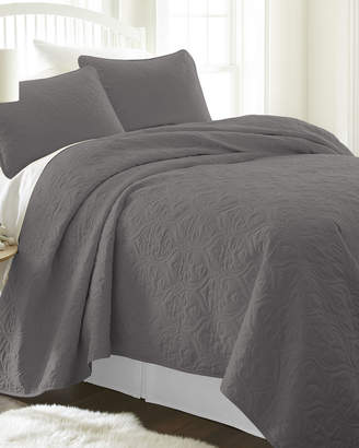 IENJOY HOME Damask-Stitched 3-Piece Quilted Coverlet Set, King