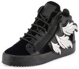 Giuseppe Zanotti Wing-Detail Leather High-Top Sneaker, Navy