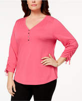 Karen Scott Plus Size Cotton Ruched Henley Top, Created for Macy's
