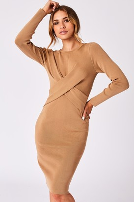 Girls On Film Ethos Camel Ribbed Cross-Front Bodycon Dress