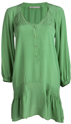 Ermanno Scervino Green Silk Pintucked Detail Long Sleeve Tunic S