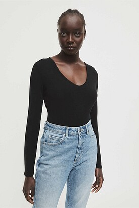 Witchery Rib Long Sleeve V Neck Tee